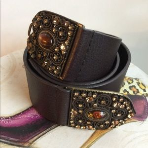 CHICO'S VINTAGE BROWN LEATHER BELT SIZE M/L